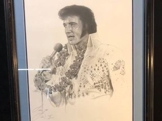 Framed Drawing of Elvis Presley location near shelf P4