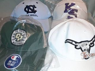 lot of 4 Baseball Hats  Fitted Texas  Velcro NC Tar Heels  Snapback Cal Poly Mustangs  Adjustable Kansas Wildcats