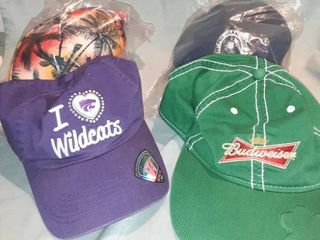 lot of 4 Baseball Caps  1Green Budweiser Velcro Back  1 Purple Wildcats Adjustable Back  1 New in Package Palm Tree Snapback  1 New in Pack Adjustable Back 79th PGA Championship