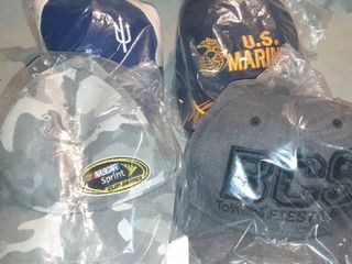 lot of 4 Baseball Caps  All New in Packaging  Camouflage Nascar Sprint with Velcro Back  Pitchfork Velcro Back  US Marines with Velcro Back  BCS Tostitos Fiesta Bowl Snapback