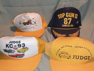 lot of 4 Baseball Caps  All Snapbacks  Judge KC in 93  Judge Return to Dallas 88  1992 CTCI National Convention  Top Gun II 87 lenexa KS