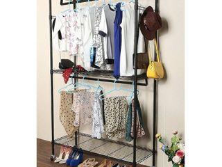2 Tier Rod Closet Organizer Garment Rack Clothes Storage Hanger Shelf