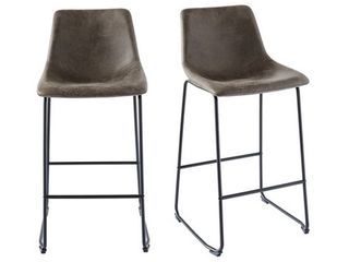 Collins Metal and Faux leather Bar Stools  Set of 2