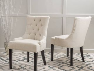 Hayden Contemporary Tufted Fabric Dining Chairs  Set of 2