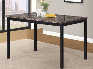 Metal Dinette Table with laminated Faux Marble Top   Black