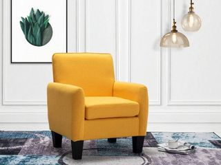 Mia linen Accent Arm Chair In Yellow