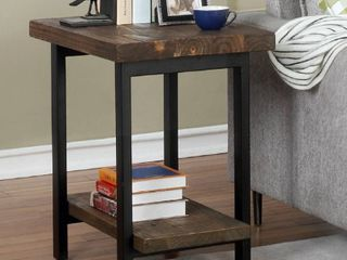 lawrence Metal and Reclaimed Wood End Table with Shelf