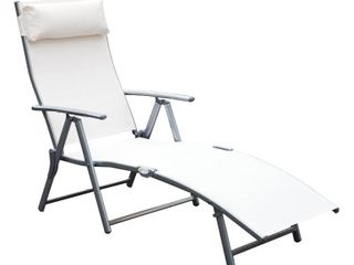 Steel Fabric Outdoor Folding Chaise lounge Chair  White