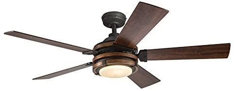 Barrington 52in lSD Indoor Downrod Ceiling Fan W  light Kit