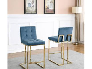 Velvet with Button Tufted Back and Gold Stainless Steel legs Counter Height Chairs