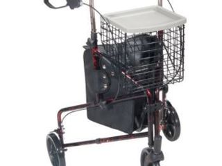 3 Whl Alum Rollator Red 1 Drive Medical 3 Wheel Rollator Rolling Walker with Basket Tray and Pouch  Flame Redea