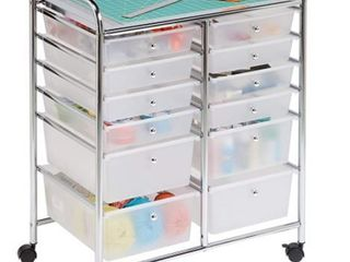 Honey Can Do Rolling Storage Cart and Organizer  12 Plastic Drawers