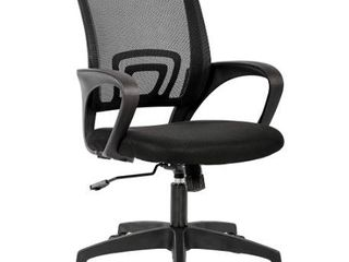 Black Rolling Office Chair with lumbar Support and Adjustable Height