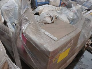pallet of grout  mastic and grout boost