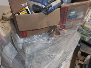 pallet of mortar  primer and grout and membrane