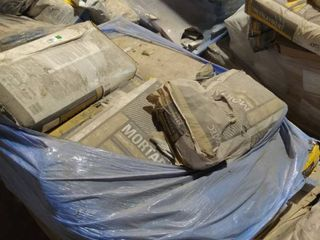 pallet of mortar and underlayment