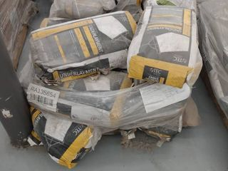 pallet of underlayment and mortar