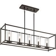 Kichler 43995 Crosby 5 light 41 w linear Chandelier   Black