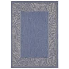 Allen   Roth  5 X 7 lt Blue Indoor outdoor Border Tropical Area Rug