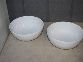 2 Fitz   Floyd Everyday White Organic Round Serving Bowls 9 1 4