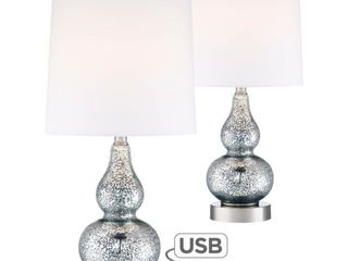 Set of 2 Castine Blue Mercury Glass Table lamps with USB Ports