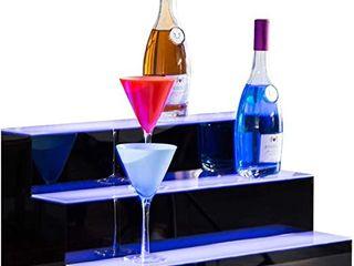 Nurxiovo 3 Step Acrylid lED liquor Bottle Display Shelf 24
