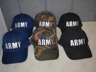 6 Army Ball Caps   Velcro Closure   Nice  Heavy Hats