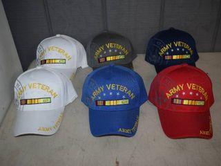 6 Army Veteran Ball Caps   Velcro Closure   Nice  Heavy Hats