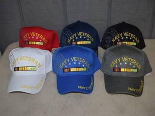 6 Navy Veteran Ball Caps   Velcro Closure   Nice  Heavy Hats