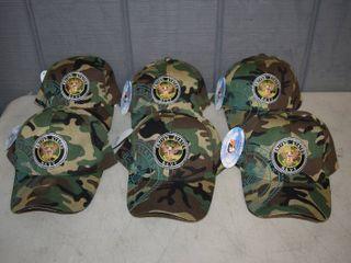 6 Navy Ball Caps   Velcro Closure   Nice  Heavy Hats
