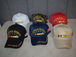 6 Air Force Veteran Ball Caps   Velcro Closure   Nice  Heavy Hats