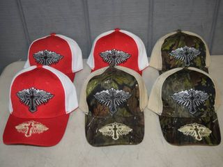 6 Winged Cross Ball Caps   Velcro Closure   Nice  Heavy Hats