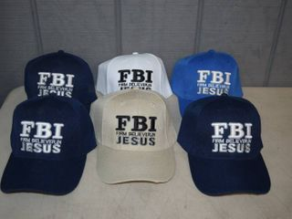 6 FBI Firm Believer in Jesus Ball Caps   Velcro Closure   Nice  Heavy Hats