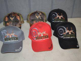 6 Ball Caps Deer Hunting   Velcro Closure   Nice  Heavy Hats