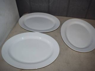 3 Fitz   Floyd Everyday White Oval Serving Platters 16