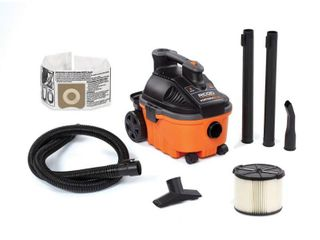 RIDGID 4 Gal  5 0 Peak HP Portable Wet Dry Shop Vacuum with Filter  Hose and Accessories
