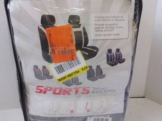 FH Group Fabric 47 in  x 23 in  x 1 in  Sports Front Car Seat Covers  Black and Beige