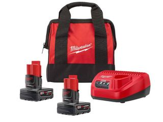 Milwaukee M12 12 Volt lithium Ion Starter Kit with Two 4 0 Ah Battery Packs and Charger