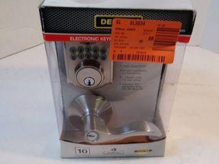 Defiant Castle Satin Nickel Keypad Deadbolt with Naples Keyed Entry Door lever Combo Pack