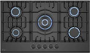 empava natural gas cooktop stove top 36 inch black 5 burners