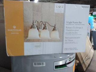 Portfolio 3 light Brandy Chase Brushed Nickel Bathroom Vanity light broken globe