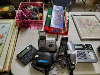 Three landline Telephones  Alarm Clock and language Master