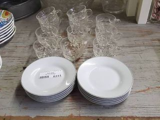 10 Pc Beekman Home Plates and Clear Glass Punch Bowl and Cups