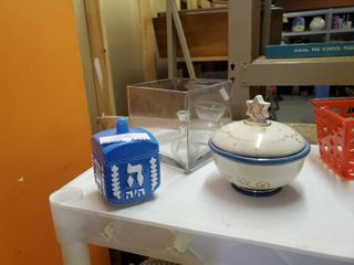 Hanukkah Decorations and large Square Glass Vase