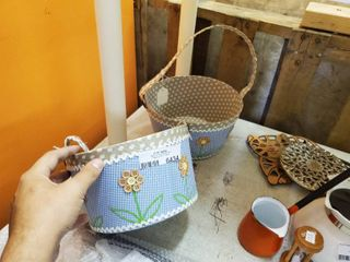 lot of 2 Handcrafted Floral Baskets