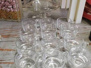 large Clear Glass Punch Bowl with 12 Cups