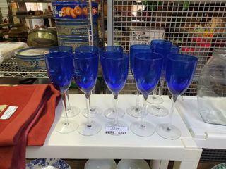 Set of 11 Blue Stemmed Drinking Glasses