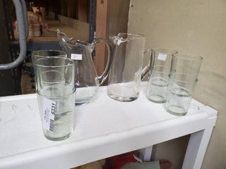 lot of 8 Drinking Glasses and 2 Glass Pitchers