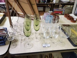 large lot of Various Stemmed Glasses