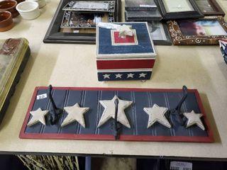 Patriotic Coat Rack and Wooden Box